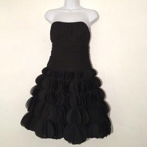 Strapless ruched black dress