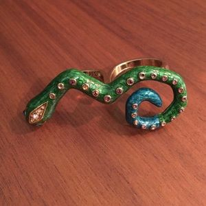Betsey Johnson rhinestone double finger snake ring