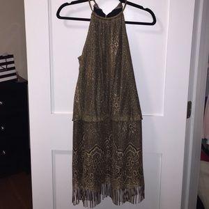 SL Fashions Dresses & Skirts - SL Fashion - Gold Lace Overlay Fringe Dress