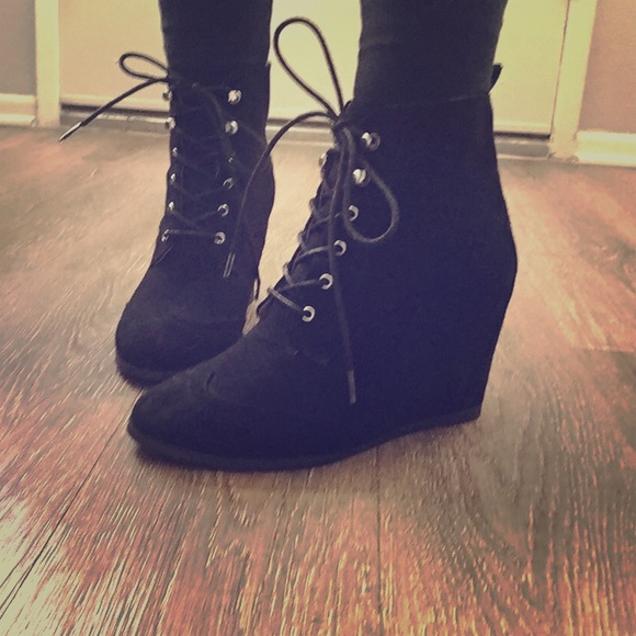 993f2f6f4f9 Forever 21 Shoes - Forever 21 Faux Suede Lace Up Wedge Booties