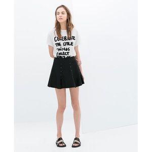 ZARA Faux Leather Studded Skirt