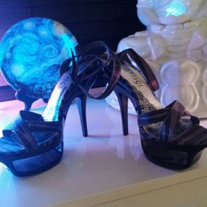Sexy  black and Silver cut out heels platforms