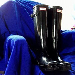 ☔️Hunter Black Original Tall Gloss Rain Boots