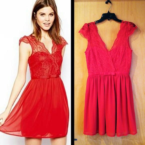 ASOS Dresses   Skirts -  HP! ASOS Red Lace Top Full Skirt Cap 128c46851