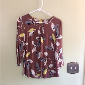 Boden blouse with leaf pattern