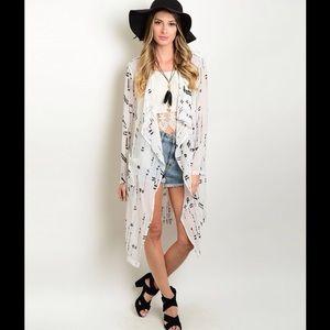 Tops - 1 Left- White & Black Print Kimono