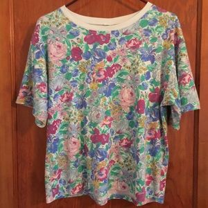 VTG 90's floral top 50/50 tee MEDIUM flower power