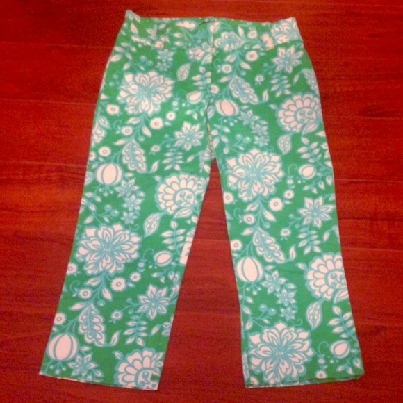 J. Crew Pants - J. Crew Green Floral City Fit Pants sz 4 Stretch