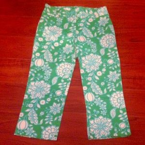 J. Crew Green Floral City Fit Pants sz 4 Stretch