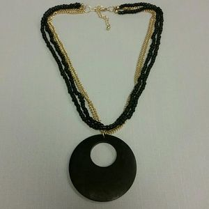 Multi Gold Chains & Beaded Necklace with wooden O