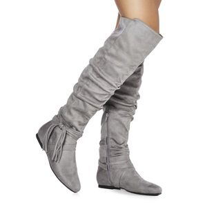 JustFab Shoes - Gray Suede Over The Knee Flat Slouchy Boots