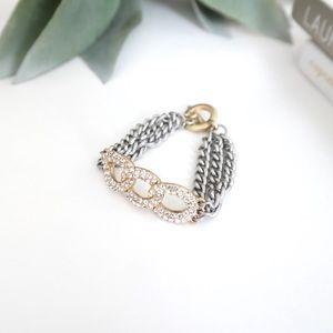 Cut Crystal Silver & Gold Chain Bracelet