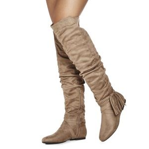 JustFab Shoes - Taupe Suede Over The Knee Flat Slouchy Boots