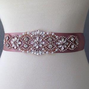 Accessories - Rose gold bridal rhinestone sash belt