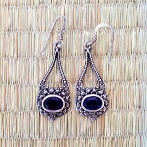 Vintage 925 Silver Earrings with Faceted Amethyst