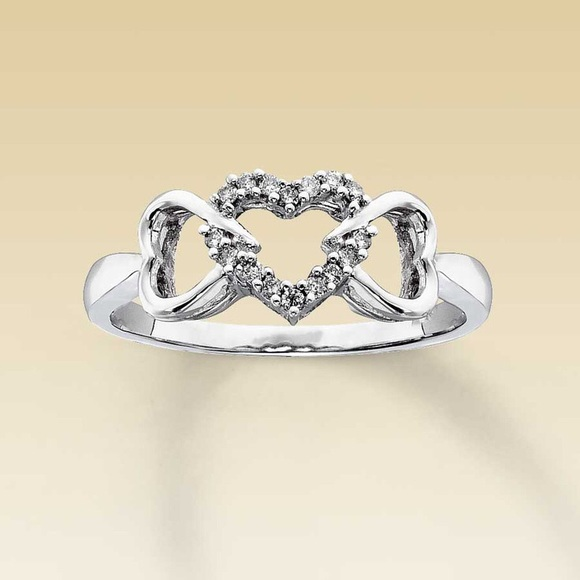 53% off Kay Jewelers Jewelry 10K White Gold 3 Heart Diamond Promise Ring fr