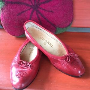 CHANEL Shoes - Chanel red ballet flats