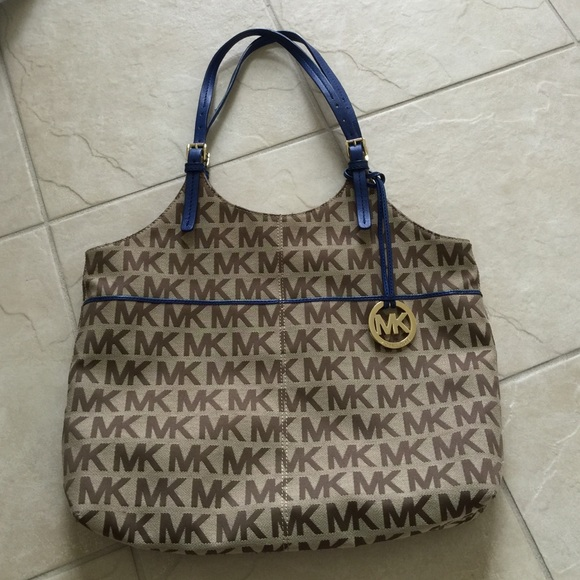 Michael Kors Monogram and Royal Blue Bag