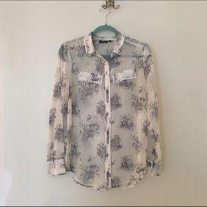 Tildon Tops - Tildon Blue and White Print Button Down Shirt