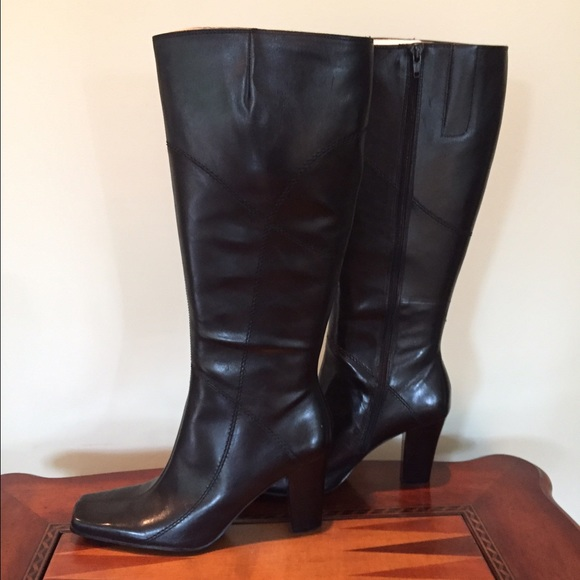 Nine West Shoes Black Leather Tall Dress Boots Poshmark