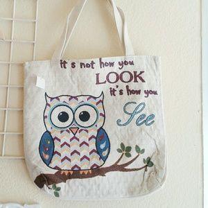 NEW owl spacious tote bag