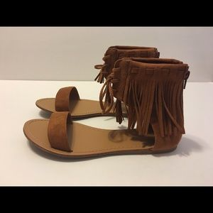 Wild Diva Shoes - Wild Diva Brown Fringe Sandals Size 7