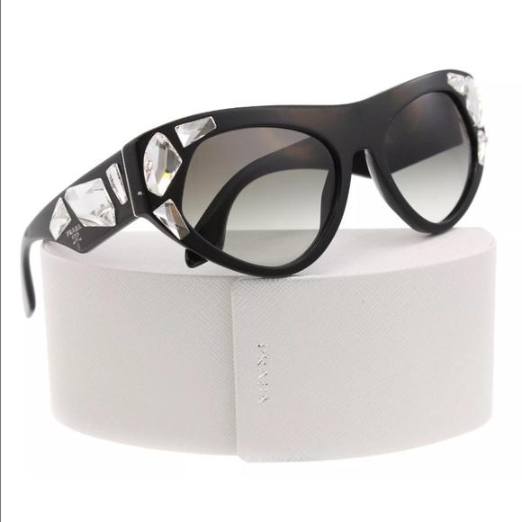 cc44005fd337 Prada Cat Eye Large Sunglasses Black with Crystals