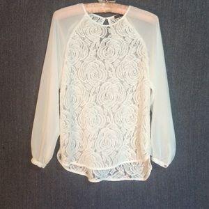 Zara white lace blouse