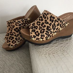 Callisto Shoes - Leopard, Cow-Hair wedges