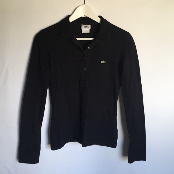 Lacoste Tops - Lacoste Slim Fit Black Long Sleeve Polo Shirt S