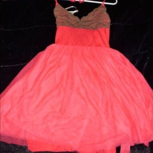 Twelve by twelve  Dresses & Skirts - Summer Coral, Taupe SWEATER TULLE DRESS Sz. L, NEW