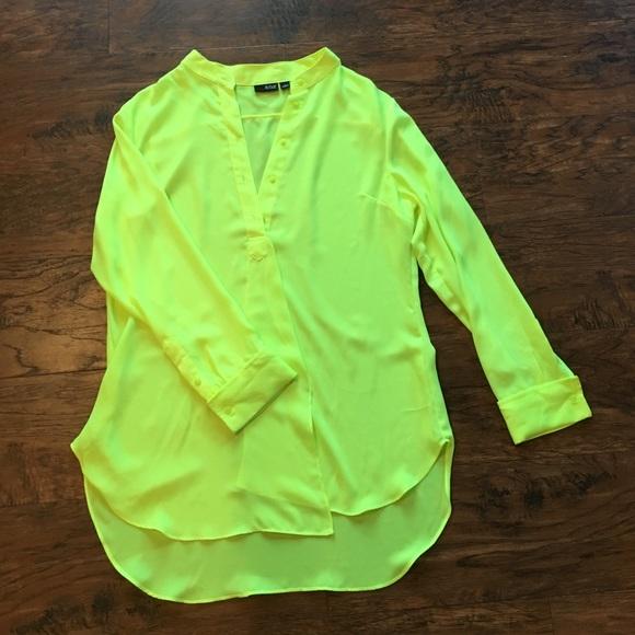 5957cd831f42 Ana (a new approach) Tops | Ana Long Sleeve Neon Yellow Dress Shirt ...
