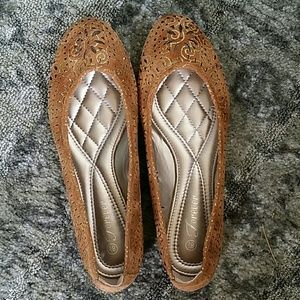 Tan and Gold Flats Size 8.5