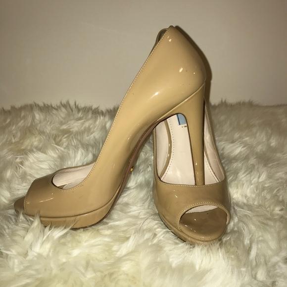 Prada Shoes | Nude Prada Peep Toe Pumps
