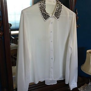 Lush Tops - Sheer white blouse with studded collar. EUC.