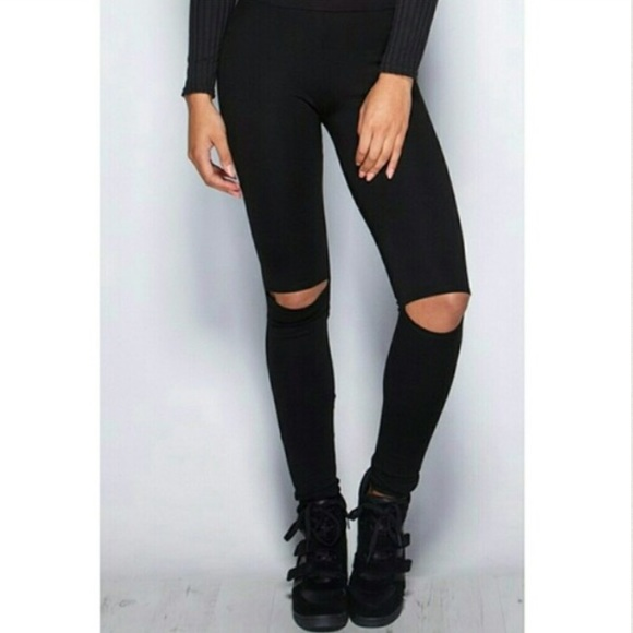 40% off Pants - Super Cute Black Leggings with Cutout Knees! from ...