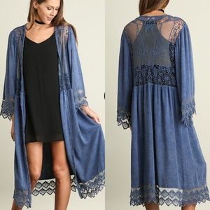 Washed Open Front Cardigan with Lace- DENIM
