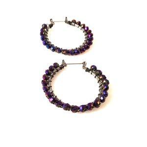 Purple Halloween Bead Hoop Earrings, El Vira