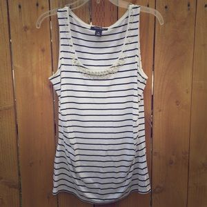 White House Black Market Tops - Black & White Stripe Tanktop with Beaded neckline