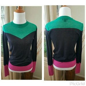 Color Block light knit sweater