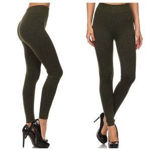 Pants - Olive French Terry Leggings OSFM