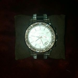 Michael Kors Clear and Rose Gold Watch