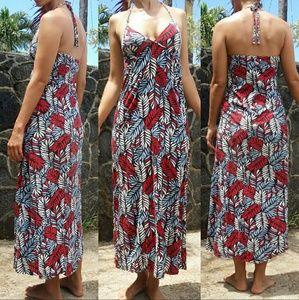 Ezekiel red white & blue floral halter maxi dress