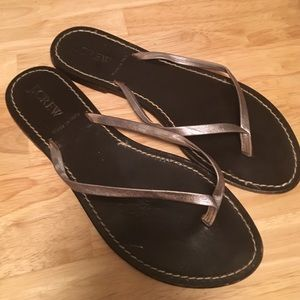 J. Crew Silver and leather flip flops