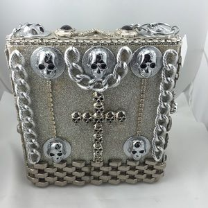 Authentic Skull and Glitter Wood Box Bag!