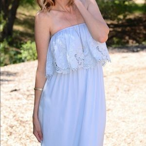 Dresses & Skirts - Lulus baby blue off the shoulder maxi dress