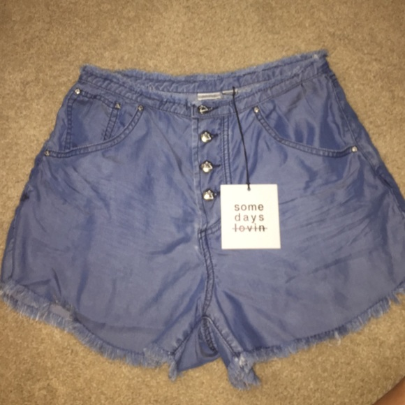 73% off Free People Pants - Flowy jean shorts with jagged trim ...