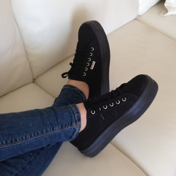 396212135c1 All black Superga platform sneakers. M 57cf6073c2845682d500b2c9