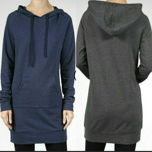 Tops - Navy French Terry hoodie tunic 🎉sale🎉