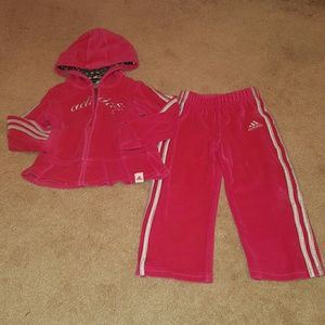 Adidas Other - Adidas Hot Pink Velour Track Suit